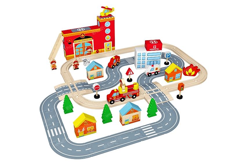消防站轨道车玩具 作品形态:平面图纸   设计师:益智宝贝玩具设计公司