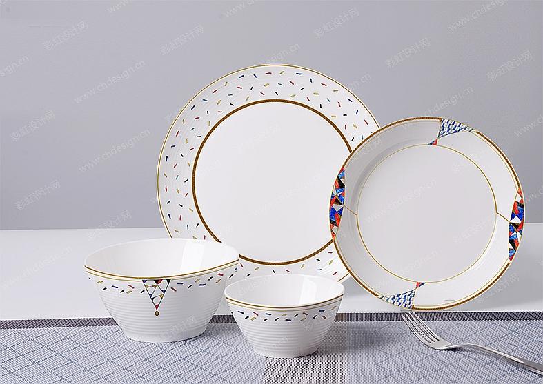 陶瓷花卉几何图案餐具-设计案例_彩虹设计网