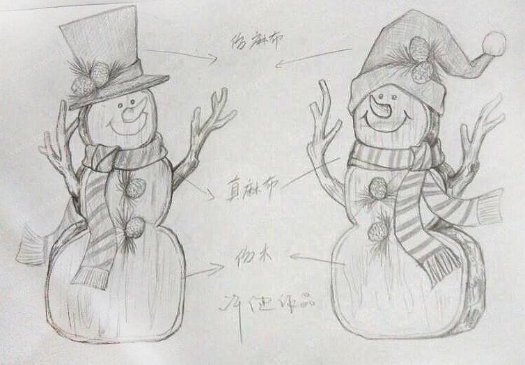 手绘圣诞节日雪人摆饰-设计案例_彩虹设计网