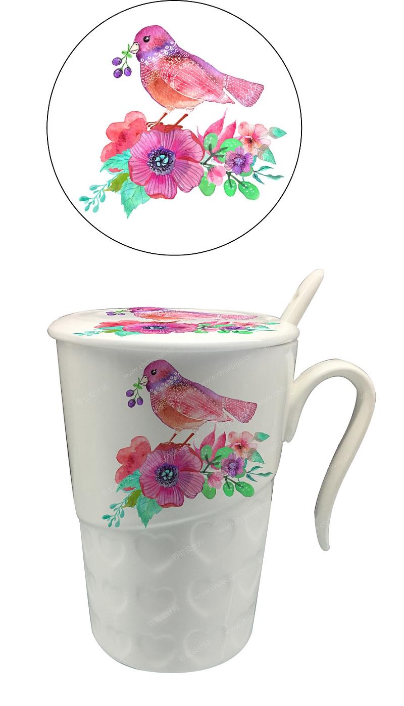 日用陶瓷杯子图案花面设计-设计案例_彩虹设计网