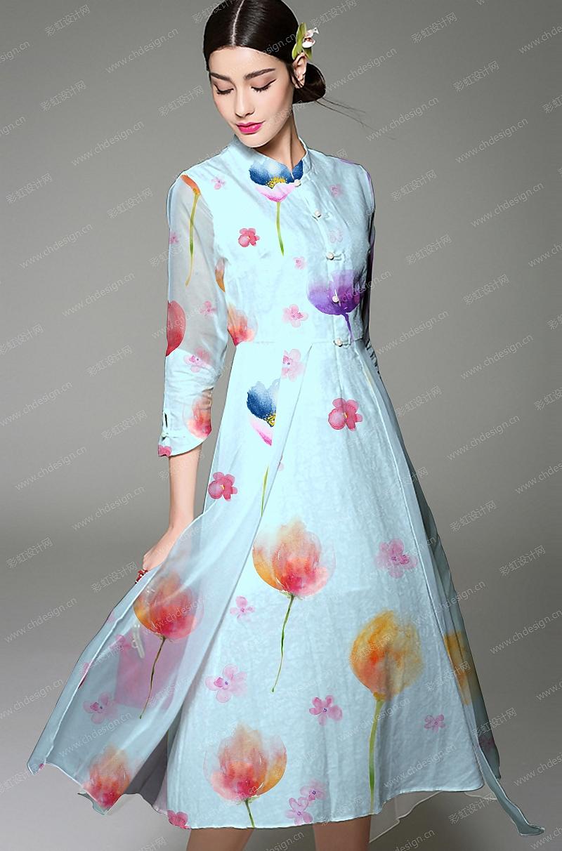 花纹蓝色礼服-设计案例