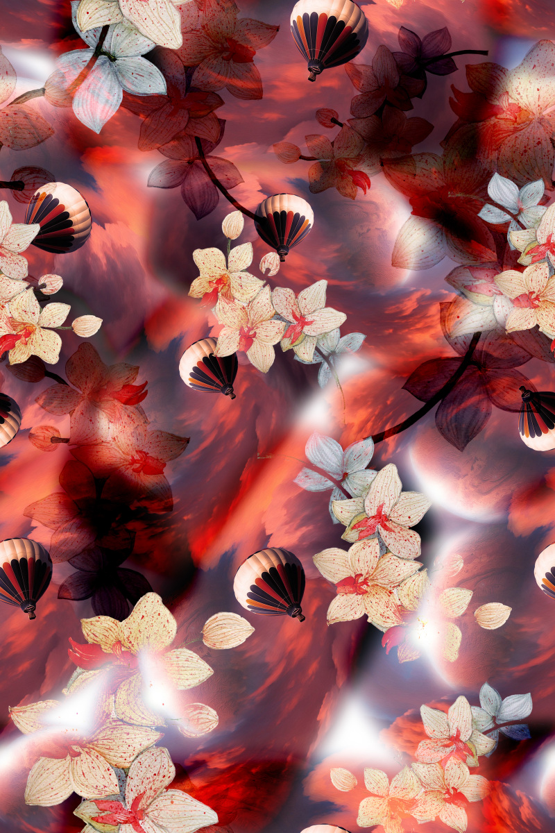 四方连续花卉风景花型图案设计11