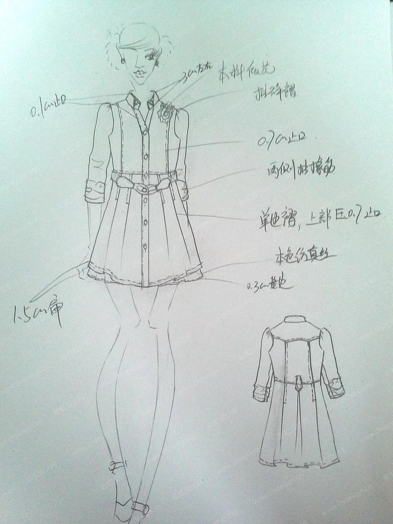 彩虹设计网 设计案例 服装设计 女装风衣连衣裙  收藏点赞作品人气