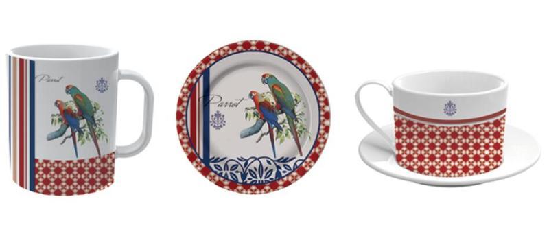 鹦鹉陶瓷盘子杯子图案