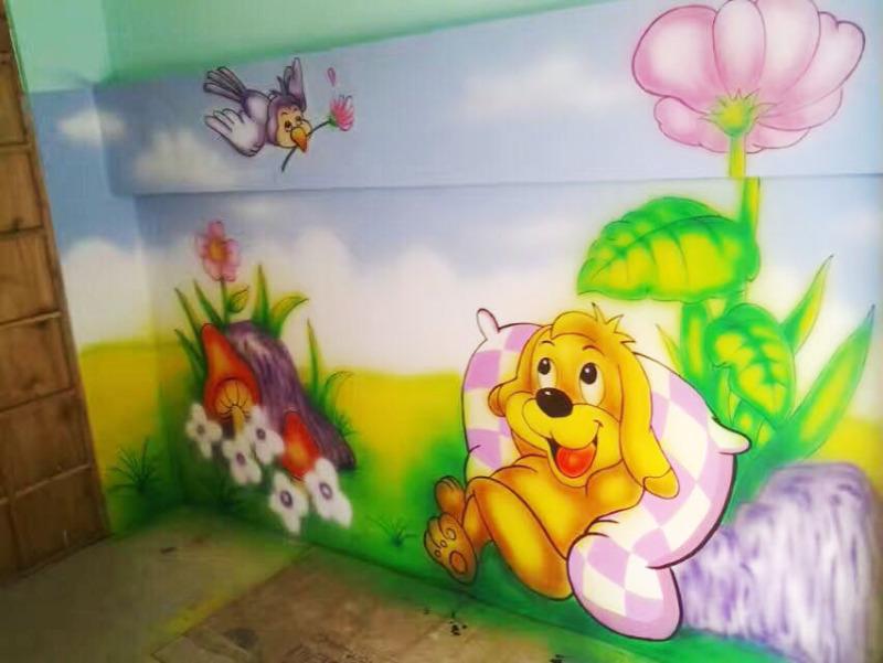 幼儿园室内墙绘-设计案例_彩虹设计网
