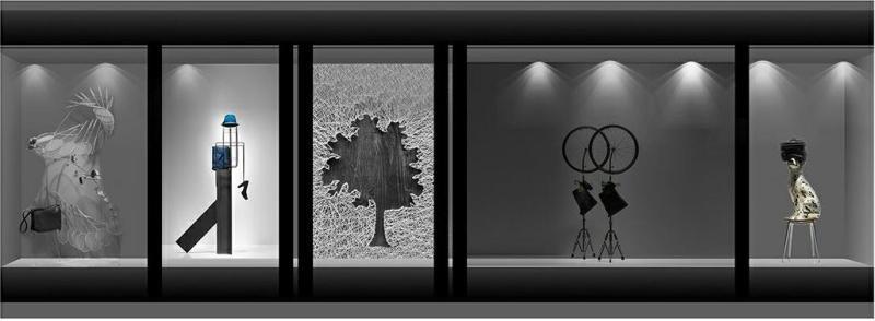 作品名称:时尚服装橱窗设计 创作时间:2016 作品形态:平面图纸   设计