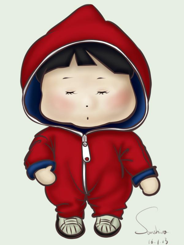 q版可爱红蓝衣服小男孩