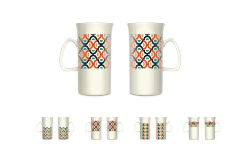 陶瓷杯马克杯器型创意几何线条花面系列-设计案例_网图片