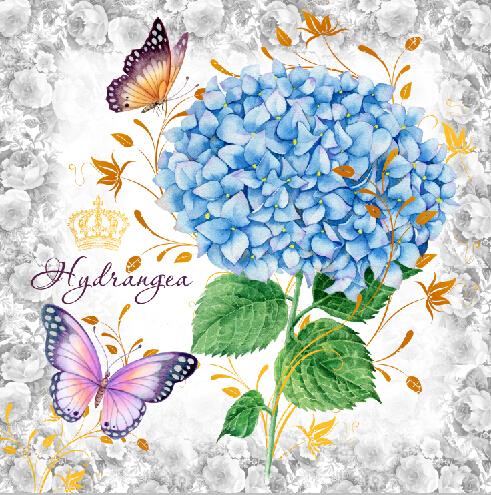 无框画 花卉 箱包 箱包贴花纸 绣球花 蝴蝶-设计案例