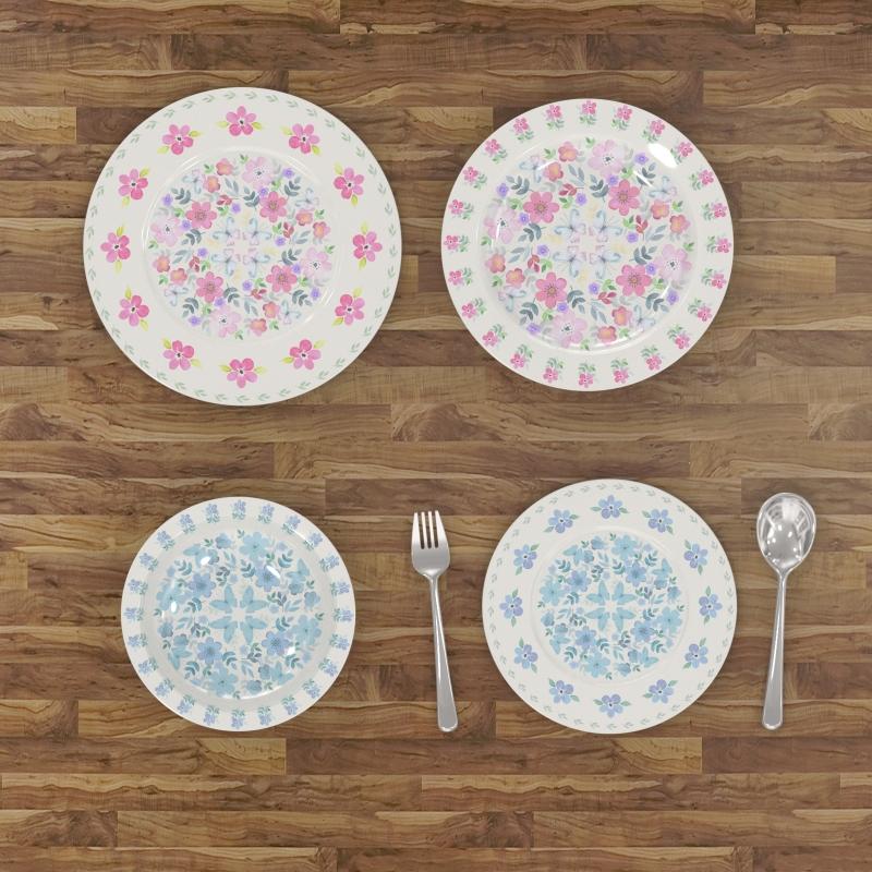 北欧风格水彩餐具图案-设计案例_彩虹设计网