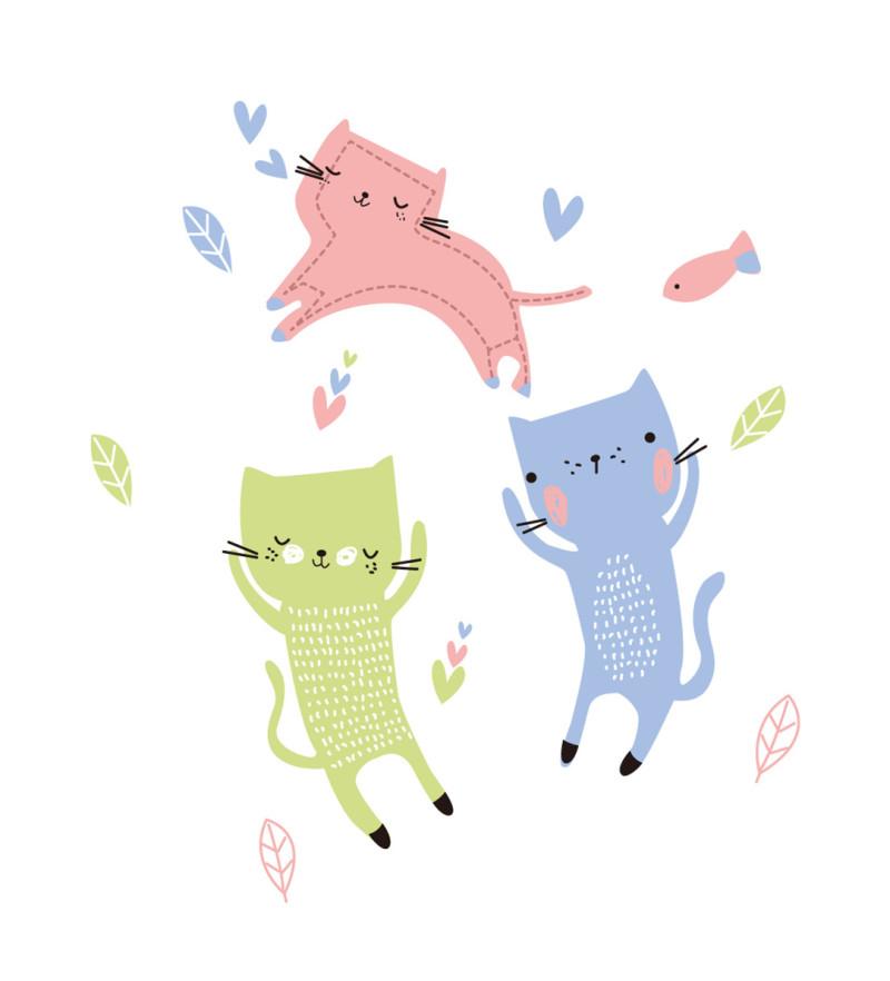 印花卡通小猫图案图片