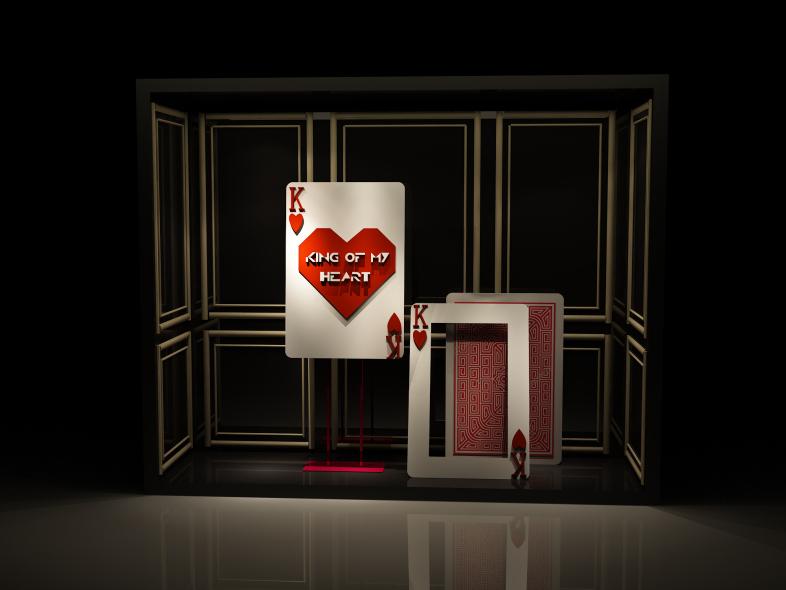 扑克牌元素主题橱窗-设计案例_彩虹设计网