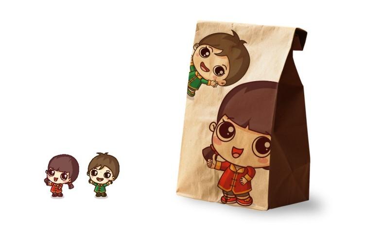 坚果品牌卡通儿童吉祥物形象以及应用包装设计图片