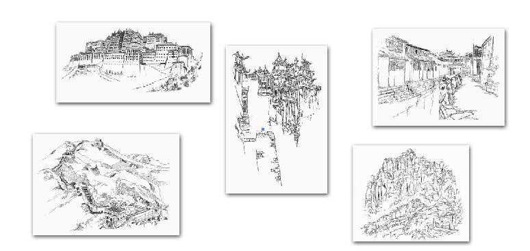 装饰画家居软装风景线描 家居背景墙装饰画 定制新中式风格艺术黑白画