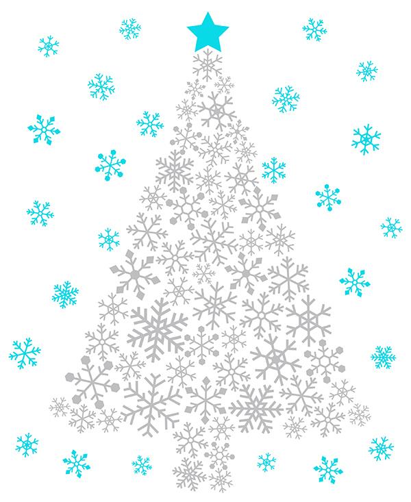 银色雪花圣诞树图案设计