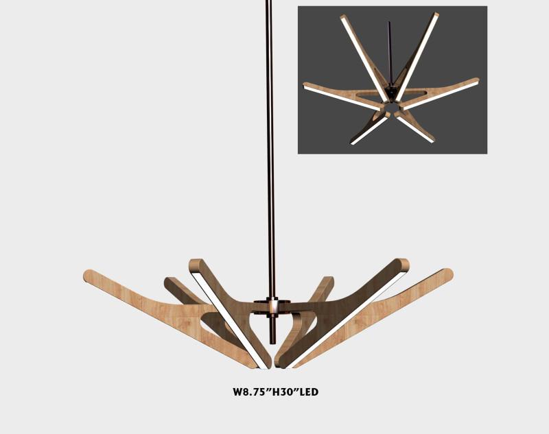 北欧实木led吊灯图片