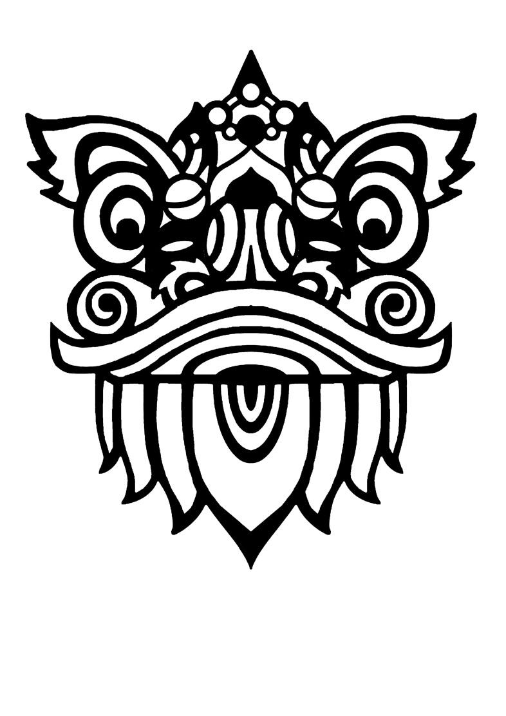 线条醒狮画素材