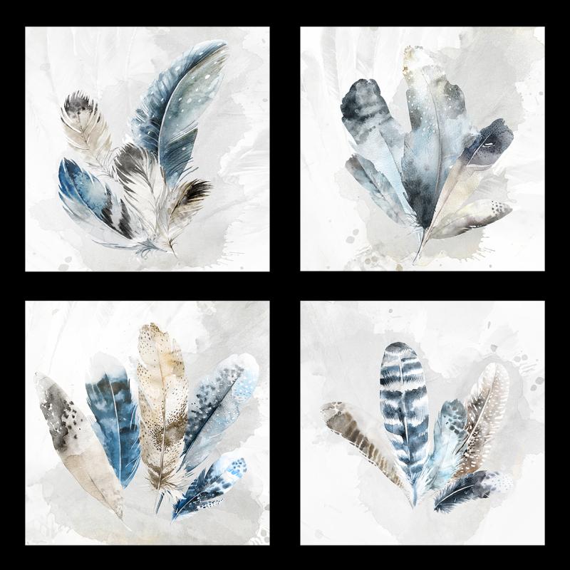 羽毛水彩手绘装饰画
