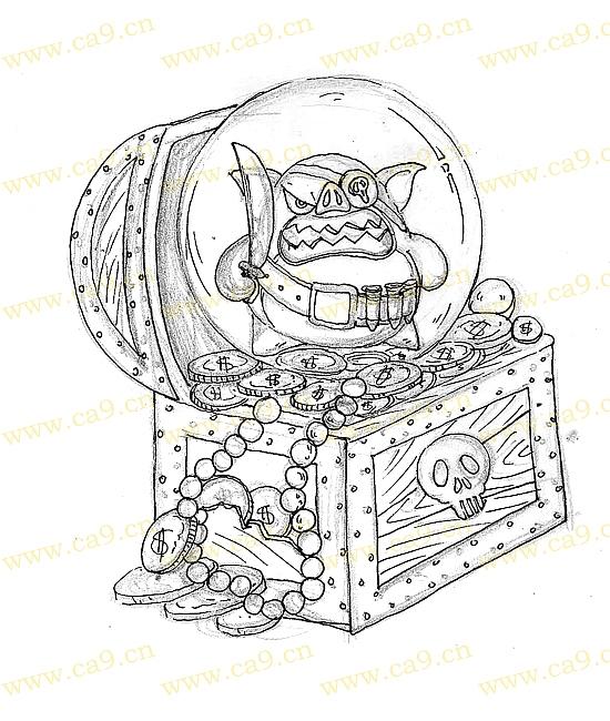 箱子创意画手绘