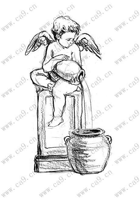 雕像喷泉手绘线稿