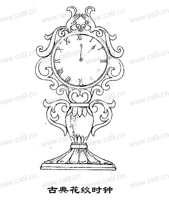 古典花纹时钟-设计案例
