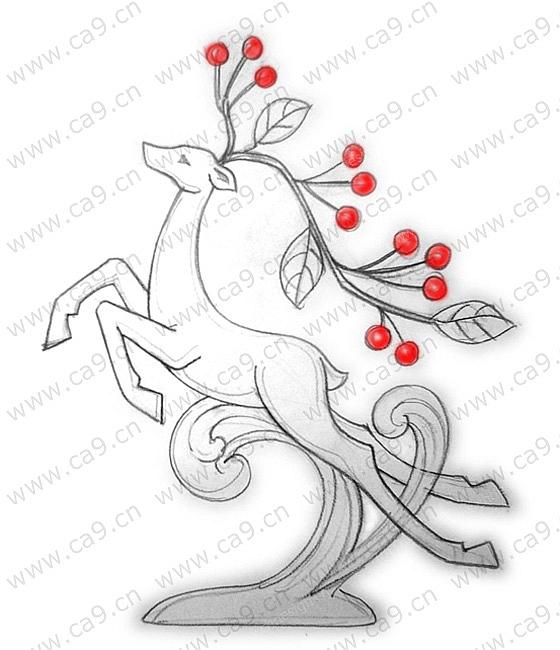 圣诞节麋鹿摆件