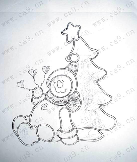 圣诞节可爱的小雪人简笔画看图