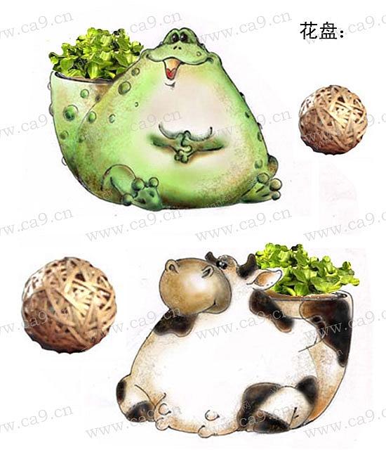 粗陶花盆动物