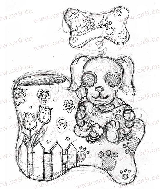 可爱花盆手绘简笔画
