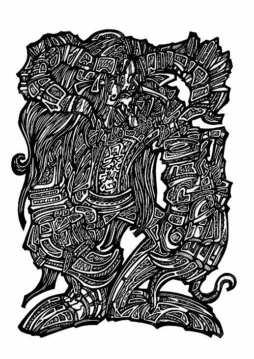 日韩欧美装饰卡通插画服装头巾插画矢量插画-原创手绘黑白插画-