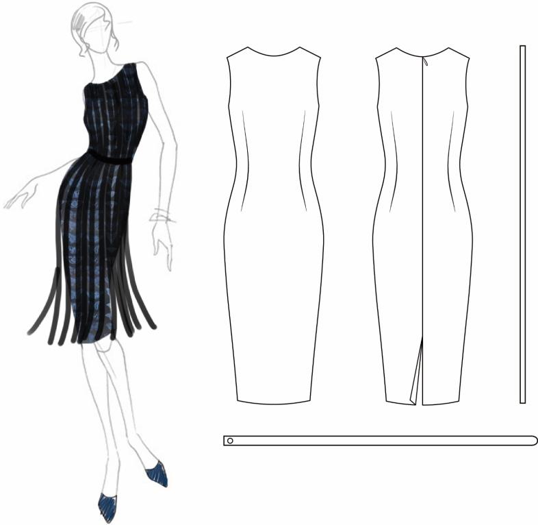 旗袍礼服时装款式图效果图-设计案例_彩虹设计网