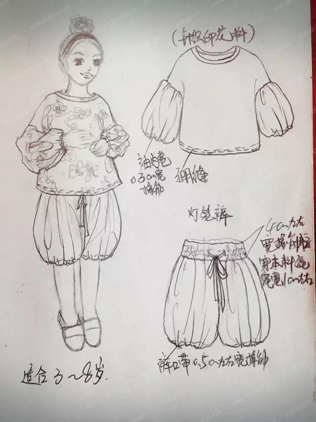 童装手绘线稿效果图